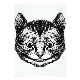 Cheshire Cat Inked Black 13 Cm X 18 Cm Invitation Card