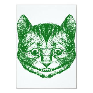 Cheshire Cat Inked Green 13 Cm X 18 Cm Invitation Card