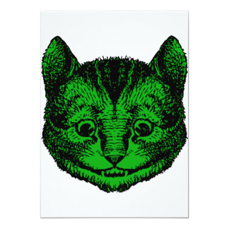 Cheshire Cat Inked Green Fill Personalized Invite