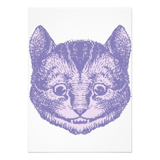 Cheshire Cat Inked Lavender Personalized Invites