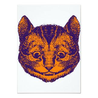 Cheshire Cat Inked Purple Orange 13 Cm X 18 Cm Invitation Card