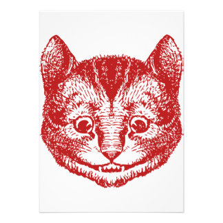 Cheshire Cat Inked Red Personalized Announcement