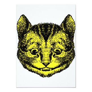 Cheshire Cat Inked Yellow Fill 13 Cm X 18 Cm Invitation Card