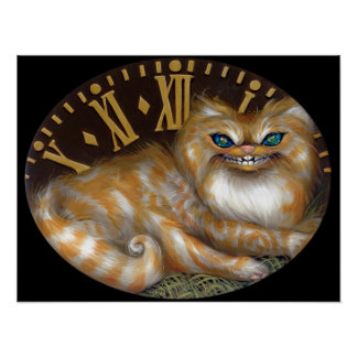 Cheshire Clock ART PRINT Wonderland Cat