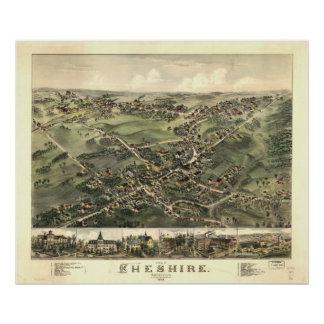 Cheshire Connecticut 1882 Antique Panoramic Map Poster