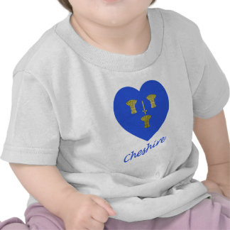 Cheshire Flag Heart with Name T-shirts