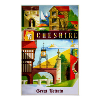 Cheshire, Great Britain travel poster. Poster