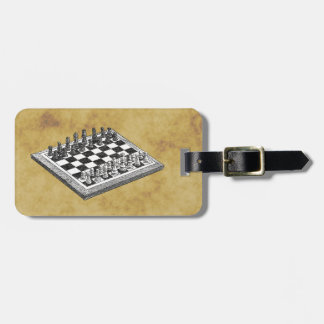 Chess and Chess Board Vintage WBG Distressed Luggage Tag