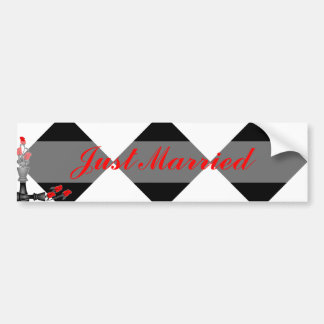 Chess and Roses Gothic Wedding Bumper Sticker