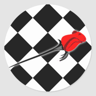 Chess and Roses Gothic Wedding Round Sticker