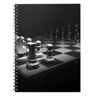 Chess Black White Chess Pieces King Chess Board Spiral Notebook