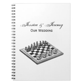 Chess Board and Chess Pieces Vintage Art Notebook