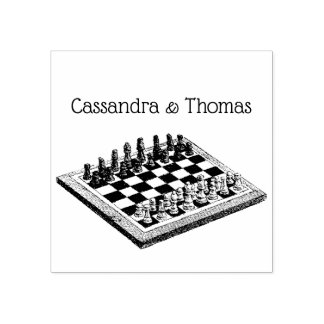 Chess Board and Chess Pieces Vintage Art Rubber Stamp