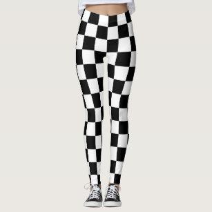 6172c9916e7a6 Women's Black White Checkered Gifts Leggings & Tights   Zazzle AU