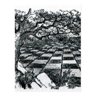 Chess Board in Wonderland Postcard
