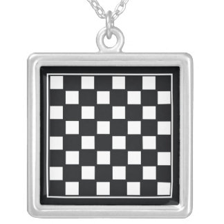 Chess Board Silver Plated Necklace