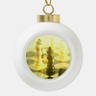 Chess Ceramic Ball Christmas Ornament