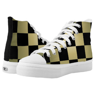 Chess ~ Checkerboard ~ Square Design Light Green Printed Shoes