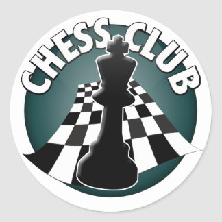 Chess Club Player Chessboard Picture Round Sticker