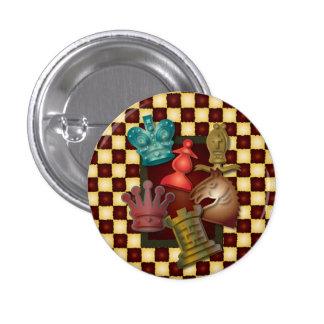 Chess Design King Queen Knight Bishop Pawn 3 Cm Round Badge