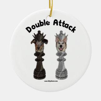 Chess Double Attack Dogs Ceramic Ornament