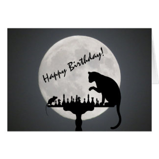 Chess Full Moon Cat and Mouse Game Happy Birthday! Card