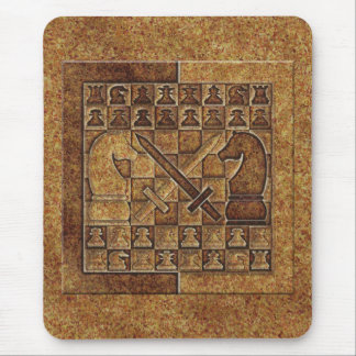 CHESS GAME IN STONE MOUSE PAD