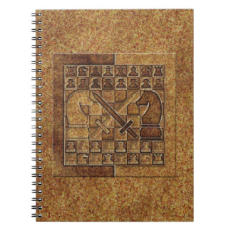 CHESS GAME IN STONE SPIRAL NOTEBOOK