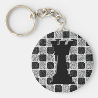 Chess Game Rook and Board Key Ring