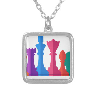 Chess Game Silver Plated Necklace