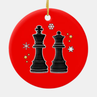 Chess King and Queen at Christmas. Ceramic Ornament