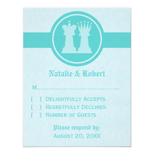 Chess King and Queen Wedding Response Card, Aqua Custom Invites