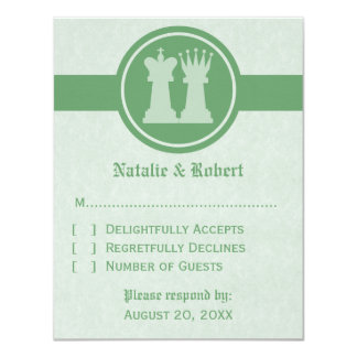 Chess King and Queen Wedding Response Card, Green Card