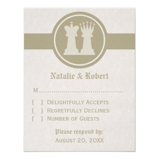 Chess King and Queen Wedding Response Card, Latte Personalized Announcement