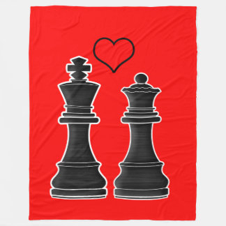 Chess Love with King and Queen Fleece Blanket