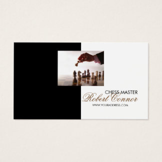 Chess Master Game Black & White Business Card