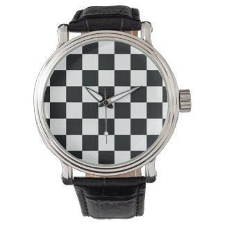 Chess Pattern Elegant Black White Checkered Watch