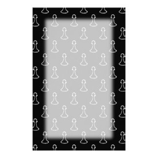 Chess Pattern in Black and White. Personalized Stationery