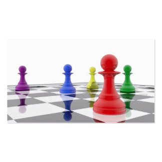 Chess pawns in different colors pack of standard business cards