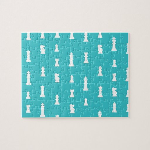 Chess piece pattern - teal blue jigsaw puzzles