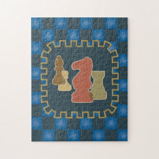 Chess Pieces Blue Puzzle