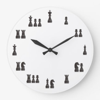 Chess pieces large clock
