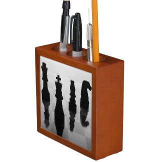 Chess pieces on chess board in black and white Pencil/Pen holder