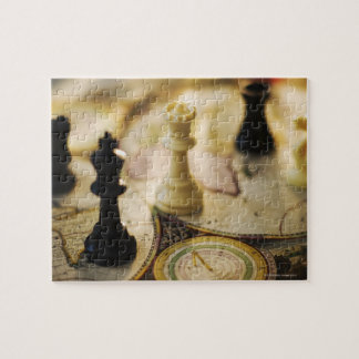 Chess pieces on old world map puzzles