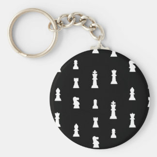 Chess pieces pattern - black and white key ring