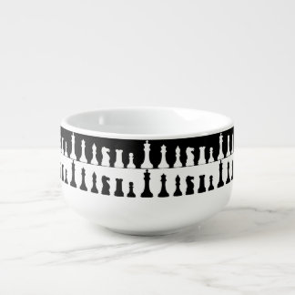 Chess Pieces Silhouette Soup Mug
