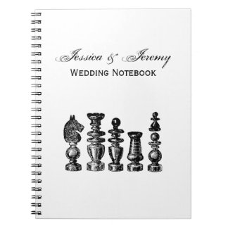 Chess Pieces Vintage Art Notebook