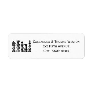 Chess Pieces Vintage Art Return Address Label