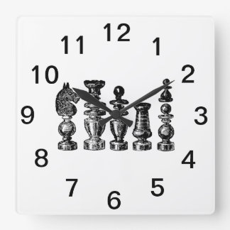 Chess Pieces Vintage Art Square Wall Clock