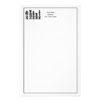 Chess Pieces Vintage Art Stationery